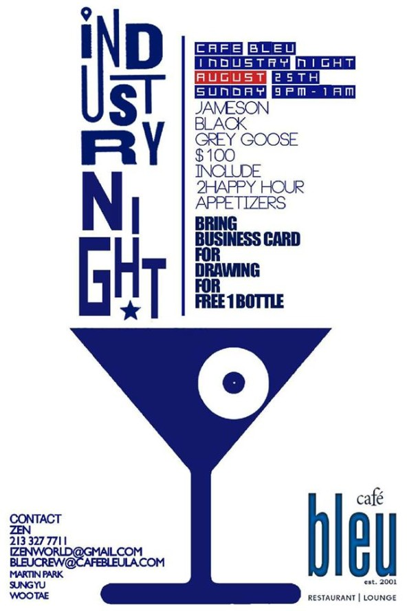 Industry night cafe bleu restaurant lounge koreatown los bring your business card for a chance to win a free bottle reheart Gallery